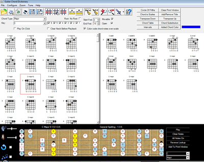 Screen shot of Guitar Chord Finder Program